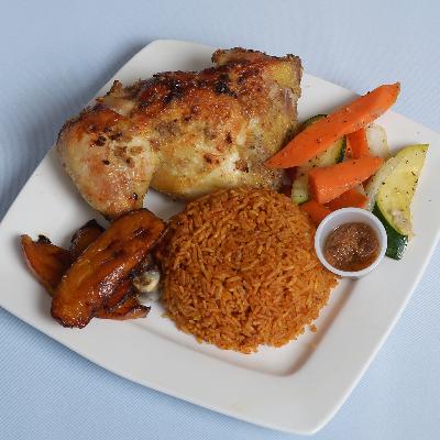 Jollof Rice With Baked Chicken Leg Quarter