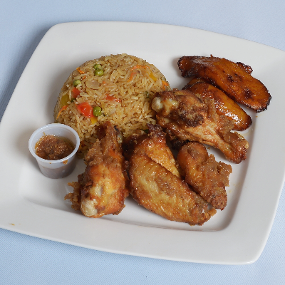 Fried Rice With Sweet Onion Ginger Wings