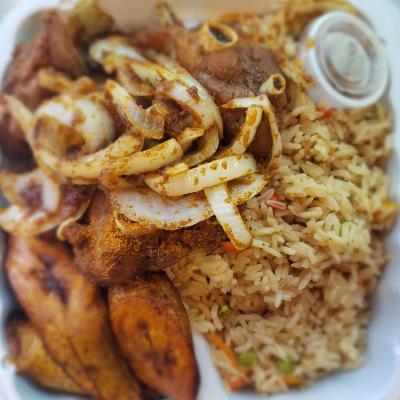 Fried Rice With Fried Turkey Wings Suya