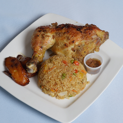Fried Rice With Baked Chicken Leg Quarter